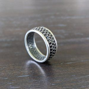 Silpada Sterling Silver Black Spinel Band Ring